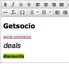 WYSIWYG editor in Getsocio