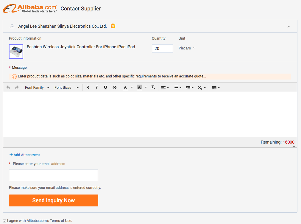 Emailing to suppliers