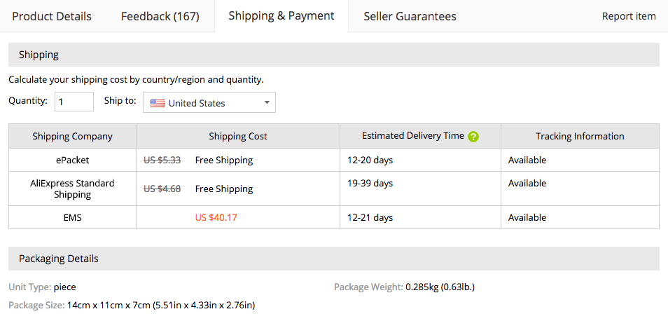 Delivery Options on AliExpress