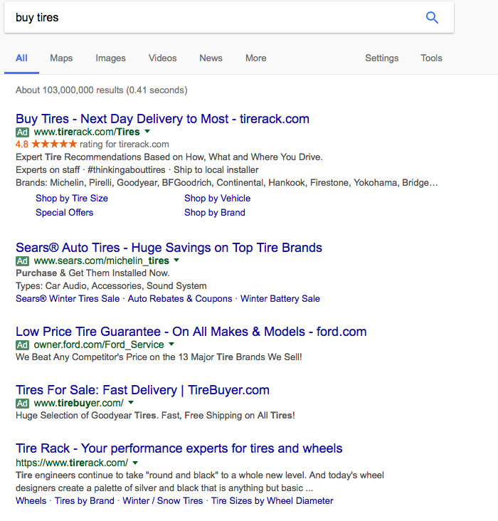 Search result without specifying location